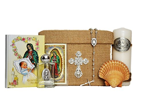All in one Virgin Mary / Virgen Maria SPANISH Baptism Bautizo Boxset in SILVER by Angel Threads Boutique