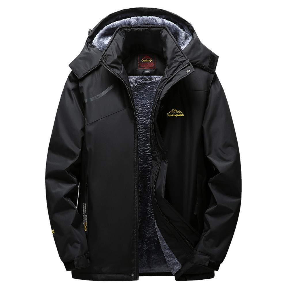 Dreamyth Mens Long Sleeve Winter Outdoor Cashmere Thickening Hoodie Zipper Sport Outdoor Assault Coat (Black, XL Bust:120cm/47.2'')
