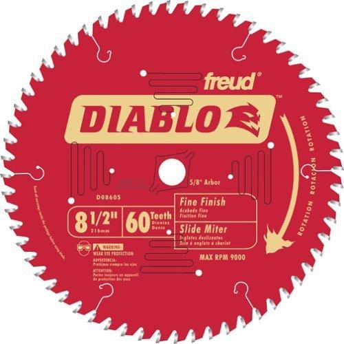 Freud D0860S Diablo 8-1/2-inch 60T Thin Kerf Fine Finish Miter Saw Blades, 2PK