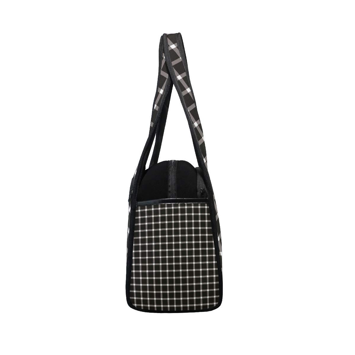 Unisex Travel Duffels Gym Bag Black And White Plaid Canvas Weekender Bag Shoulder Bag Totes bags