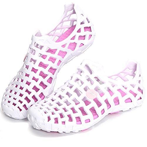 Minetom Unisex Verano Respirable de la Red del Acoplamiento Zapatillas de Playa Ahueca Hacia Fuera las Sandalias Non-slip Zuecos Zapatos de Lluvia Rose