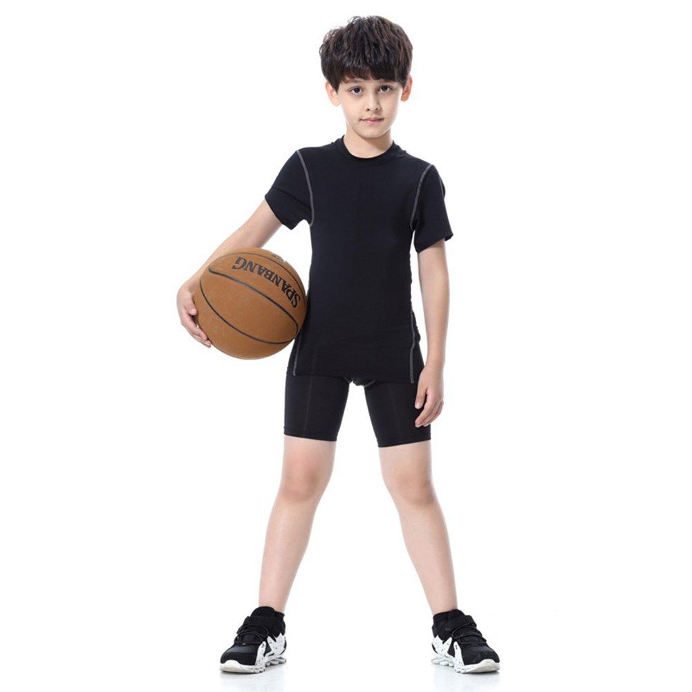 LANBAOSI Boy's Compression Shirts Pants Child's Short Sleeve Base Layer Set by LANBAOSI (Image #3)