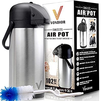 ONE DAY SALE! Coffee Carafe Thermos - Thermal Beverage Dispenser (102 oz.) By Vondior. Insulated Stainless Steel Urn For Hot/Cold Water, Pump Action Airpot, Party Chocolate Drink Server + Brush Bonus.