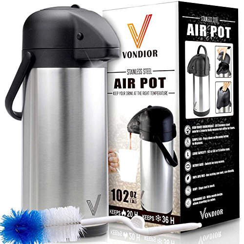 Coffee Carafe Thermos - Thermal Beverage Dispenser (102 oz.) By Vondior. Insulated Stainless Steel Airpot Urn For Hot/Cold Water, Pump Action Airpot, Party Chocolate Drink Server + Brush Bonus.