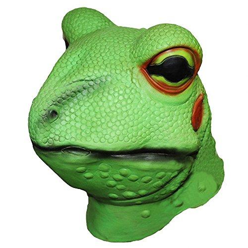 (Frog Toad Latex Animal Head Mask, Lizard Gecko Kermit Adult Full Head Green Mask Costume Party)