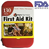 First Aid Kit for Car, SUV and Marine Use | Emergency Medical Kit for Home, Business, Travel, Hiking, Backpacking, Camping and Sports | 130 Pieces | Hard Shell Case | FDA Approved | + Bonus eBook