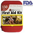 First Aid Kit for Car, SUV and Marine Use | Emergency Medical Kit for Home, Business, Travel, Hiking, Backpacking, Camping and Sports | 130 Pieces | Hard Shell Case | FDA Approved | Bonus eBook