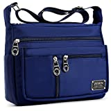 Crossbody Bags for Women,Water Resistant Lightweight Nylon with 6 Pockets Bag by ZYSUN (Blue-B)