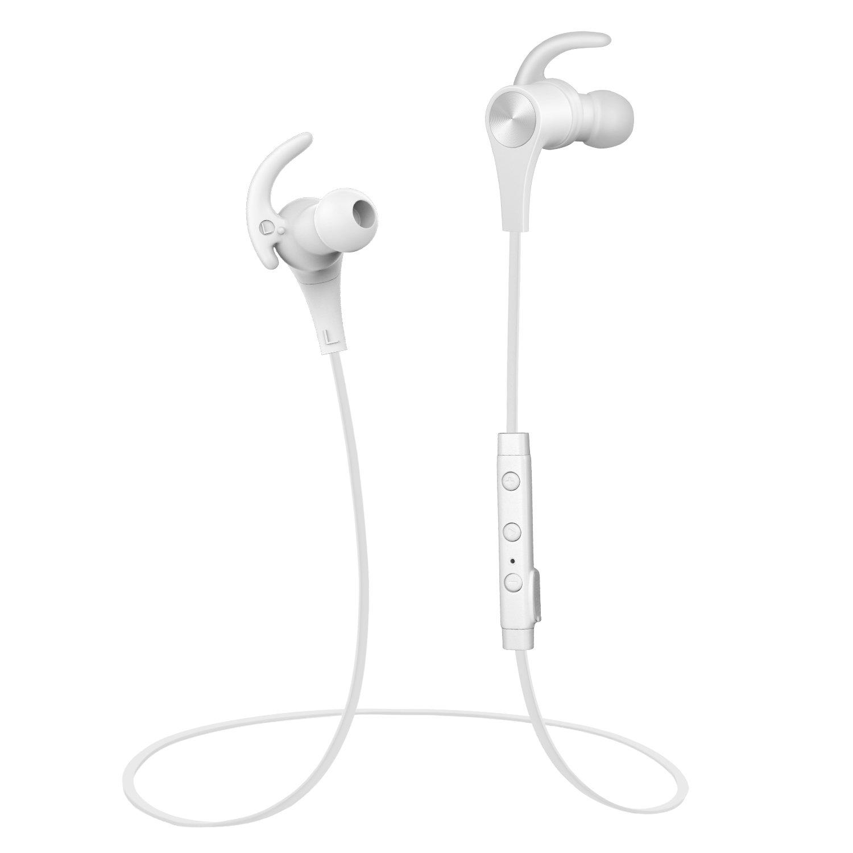 SoundPEATS(サウンドピーツ) Bluetooth イヤホン 高音質 apt-X対応 マグネット搭載 マイク付き スポーツ ブルートゥース イヤホン Q12 ホワイト
