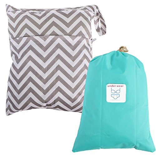 MyKazoe Waterproof Wet Bag with Two Zippered Pockets and Multipurpose Bag with Drawstring Kit - Swimsuits, Diapers, Cosmetics & More (Set of Two) (Summer Stripes)