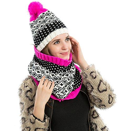La Vogue Ensemble Bonnet Et Écharpe Tube Souple Femme Pompon Tricot Hiver Chaude