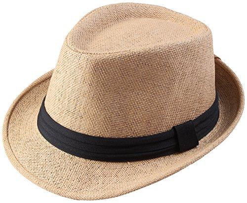 (Classic Fedra Unisex Woven Hat Summer w/Stylish Band -)