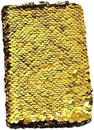 LASISZ A6 Tagebuch Notizbuch Mini Doppelseitige Pailletten Leere Seite Graffiti Notizbuch Kreatives Briefpapier 10 Farben, Gold, A6