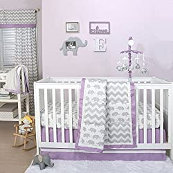 Grey Elephant and Chevron Patchwork 4 Piece Crib Bedding Set for girls with Purple Trim by The Peanut Shell