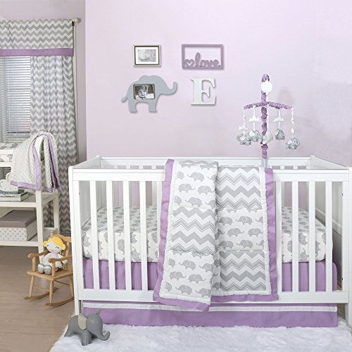 Grey Elephant and Chevron Patchwork 4 Piece Crib Bedding Set with Purple ()