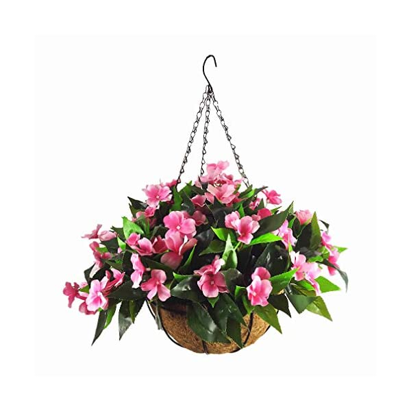 Mynse Silk Impatiens Flowers Hanging Coco Basket Artificial Impatiens Flower For Balcony Home Decoration Rose Red A Small Basket And Artificial Flower Silk Flower Arrangements