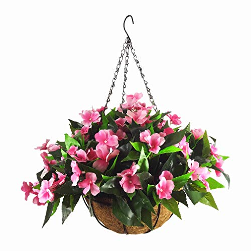 Mynse Silk Impatiens Flowers Hanging Coco Basket Artificial Impatiens Flower for Balcony Home Decoration, Rose Red (Big Basket and Artificial Flower)