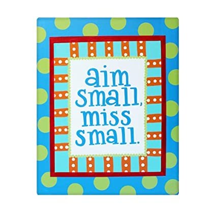 Aim Small Miss Bathroom Sign Kids Decor Canvas Wall Art For