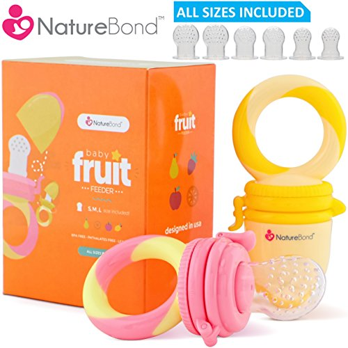 Baby Food Feeder / Fruit Feeder Pacifier (2 pcs) - Infant Teething Toy Nibbler Teether and Silicone Food Pouches in Appetite Stimulating Colors by NatureBond | Bonus Includes All Sizes Silicone Sacs