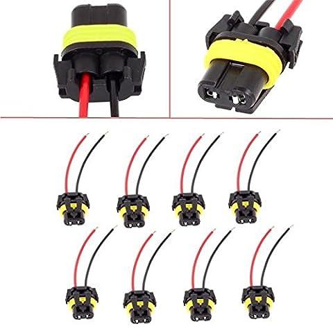 PartsSquare 8pcs Universal 9005 9006 Adapter Wiring Harness Female Sockets Wire Headlights / Fog (D2s Corolla)