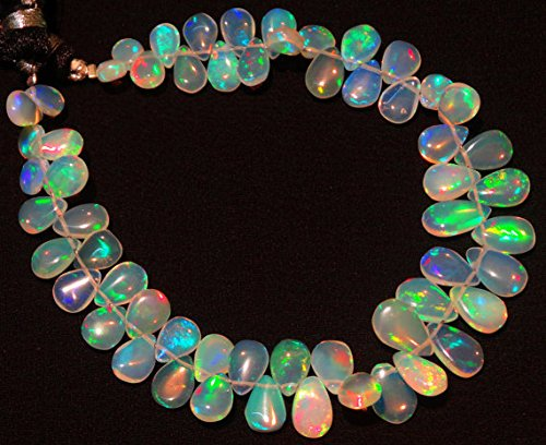 JP_Beads 1 Strand Natural Ethiopian Welo Opal Rare Pear Shape Briolettes 5x7 to 6x9MM 7 inch ()