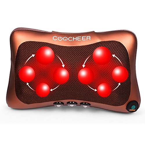 COOCHEER Shiatsu Massage Pillow Deep Kneading Massager with Eight Heat Nodes for Relax, Sooth and Relieve Neck, Shoulder and Back Pain Pillow Massager- Used at Home Car Office