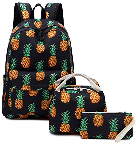 School Backpack Teens Girls Cute Bookbag Schoolbag fit 15inch Laptop Insulated Lunch Bag for Boys Kids Travel Daypack(Pineapple Black T010)