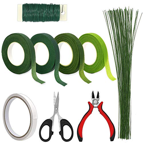 Floral Arrangement Tools, WEST BAY 9Pcs Flower Craft Tools Include Floral Wire Cutter Shears 4Pcs Floral Tape 26 Gauge Stem Wire 22 Gauge Paddle Wire Double-Sided Tape for Bouquet Stem