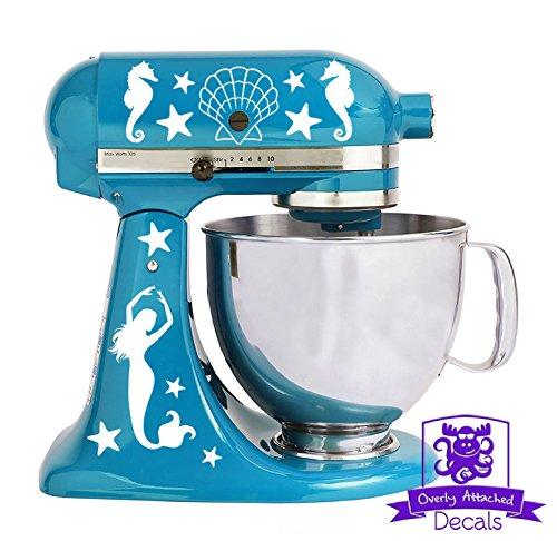 (Nautical Mermaid Seahorse Seashells and Starfish Kitchen Stand Mixer Front & Back Decal Set - White)