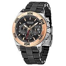 Megir Luxury Military Fashion Rose Gold Silicone Stainless Steel Men Quartz Watch