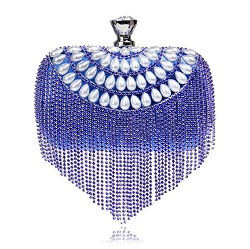 Pour Main Banquet Femmes Diamond Les De Evening Glands Main à Sac De Clutch Clubs Sac à Mariage Sauvage Bag blue Partie AzzqOWxB1