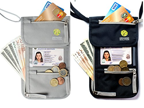 Passport Holder by Organizer Solution, Travel Wallet with Rfid, Neck Wallet (2 pack, Black+Grey)