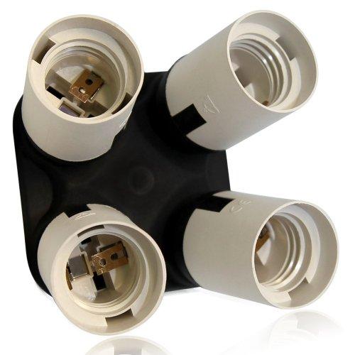 TORCHSTAR 4 Socket Adapter, 4 in 1 Socket Converter, 1 to 4 E26/E27 Base Lamp Holder Socket Splitter for Photo Studio, Work Shop, Garage Lighting