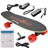 Kaluo Electric Cruiser Skateboard with with Handheld Remote Controller, 350W Motorized Skateboard Longboard, Red PU Wheels (US STOCK) (Red Wheel)