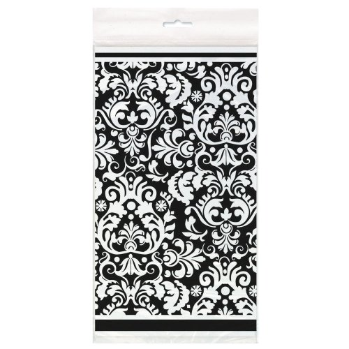 Black Damask Plastic Tablecloth, 84