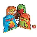 4 ~ I Love Camping Drawstring Backpacks ~ Nylon ~ 14'' x 18'' ~ New