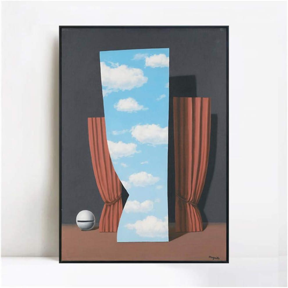 Por Rene Magritte Cuadro en lienzo Imagen de arte de pared para sala de estar Decoración para el hogar Cartel e impresión Gioconda -50x70cm Sin marco