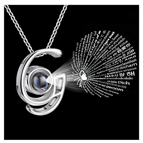 Forevereally Initial Necklace 100 Languages I Love You A to Z 26 Letters Alphabet Pendant Necklace Personalized for Women Girls ()