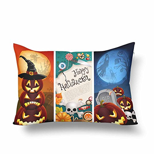 InterestPrint Halloween Banners Pumpkins Witch Hat Full Moon Skull Pillow Cases Pillowcase 16x24, Rectangle Pillow Covers Protector for Home Couch Sofa Bedding Decorative