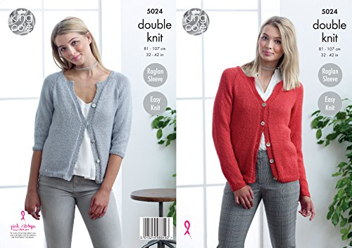 Long Cardigan Knitting Pattern - King Cole Ladies Double Knitting Pattern Easy Knit Long or 3/4 Raglan Sleeve Cardigans (5024)