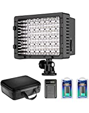 Neewer Video Luce LED Dimmerabile 216 LED per Fotocamera Videocamera con 2pz Batteria a Litio NP-F550 2600mAh Caricabatterie USB Borsa di Trasporto per Registrazioni Video Youtube