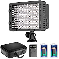 Neewer Cn-160 Led Dimmable Ultra High Power Panel Video Light Kit: Cn-160 Led Light,(2)2600 Mah Battery, Usb Battery Charger & Carrying Case For Canon, Nikon, Pentax, Sony Dslr Cameras,dv Camcorders