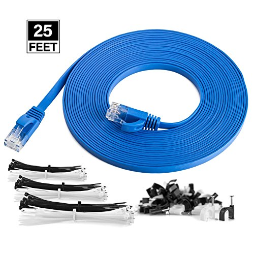 Utp Cat5 Flat Cable - Maximm Cat6 Flat Flexible Ethernet Cable, 25 Feet - Blue - Pure Copper - UL Listed - Includes Cable Clips and Ties