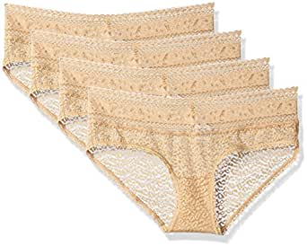 Calvin Klein Women's 4 Pack Stretch Lace Hipster Panty, Bare, Small