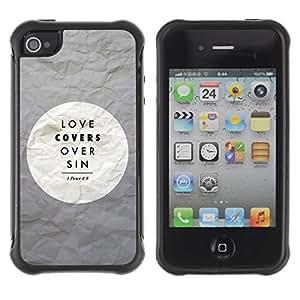 Suave TPU GEL Carcasa Funda Silicona Blando Estuche Caso de protección (para) Apple Iphone 4 / 4S / CECELL Phone case / / BIBLE Love Covers Over Sin - Peter 4:8 /