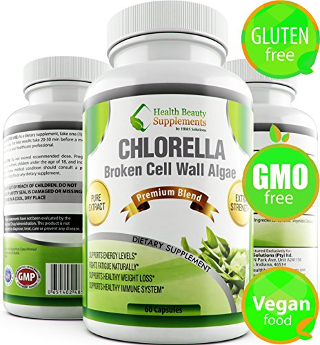 * Vegan Friendly Detox, Gluten Free,Non-GMO,Colon and Liver Detox * 1200mg Daily (600mg per Cap) Chlorella Contains Protein,Iron,Antioxidants & Vitamins,Colon Detox and Cleanser,Colon Cleanse
