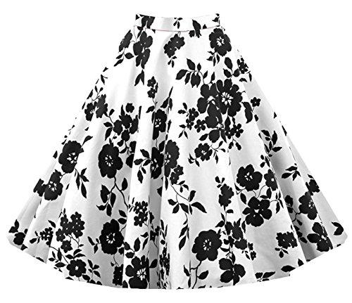 iHaipi - Vintage Rockabilly Floral Annes 50 Jupe (03. Large, 13. Bleu) 10. Blanc - Noir Fleurs