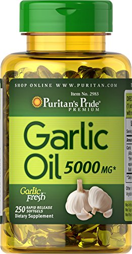 Puritan's Pride Garlic Oil 5,000mg, Pills for Cardiovascular Health Support and Blood Pressure Management, 250 Rapid Release Softgels Review