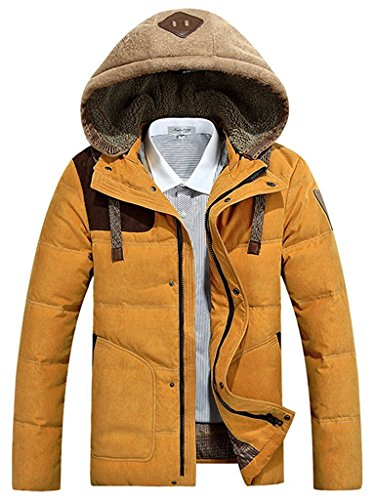 J-SUN-7 Men's Thicken Down Winter Coats Trench Jacket Hooded (Golden US L/Asian 2XL)