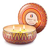 Onlywax Geranium Candles Scented Soy Wax 3 Wick Tin Jar, 70 Hour Burn 13.5oz, Outdoor and Indoor